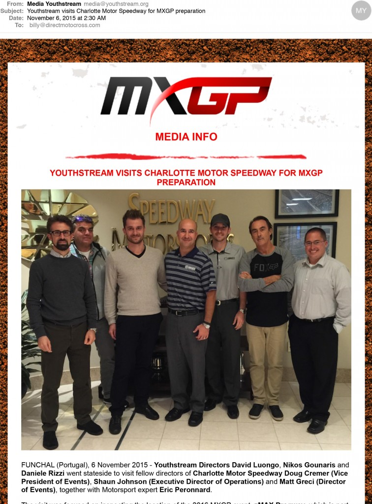 Youthstream visits Charlotte Motor Speedway for MXGP preparation