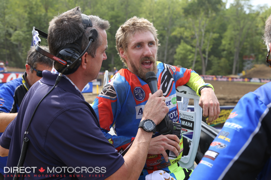 Justin Barcia has a word with Lurch after taking 3rd in the 2nd moto.