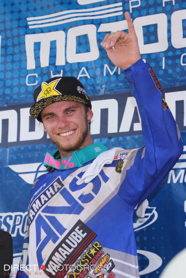 #157 Aaron Plessinger was a very popular winner Saturday in the second moto. He and #37 Joey Savatgy put on a great show at the front.