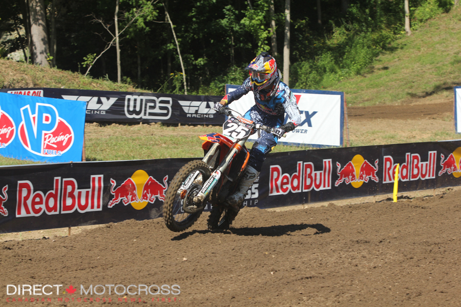 After a mechanical early in the first moto cause a DNF for #25 Marvin Musquin, he knew the title was out of reach but still rode hard to a solid 3rd place 2nd moto finish.