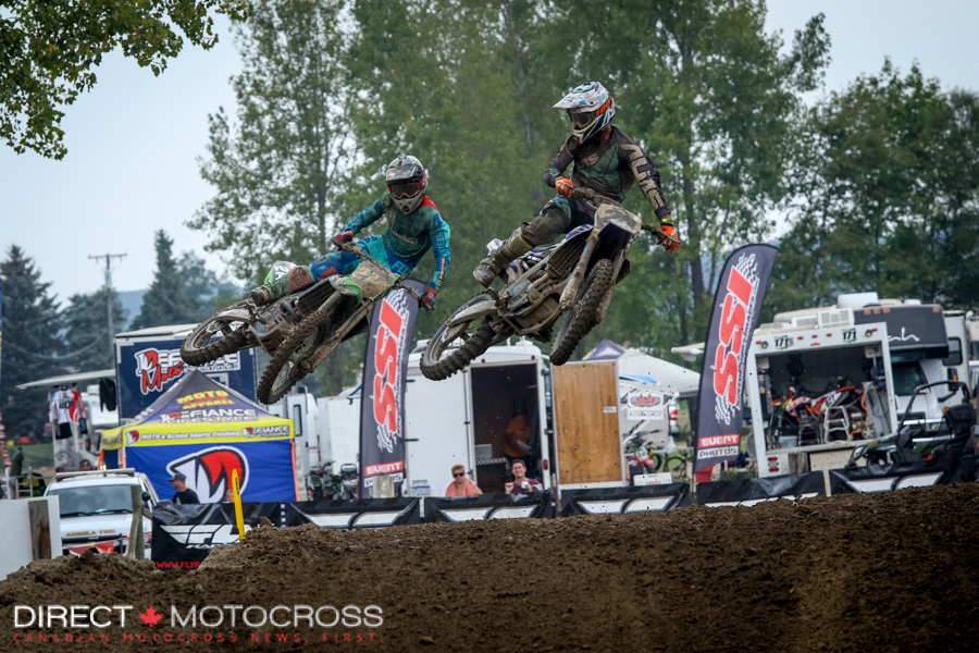 They both got around Lorenz and were this close at the flag. Forkner''s 3 moto scores gave him the Open Pro SPort title.