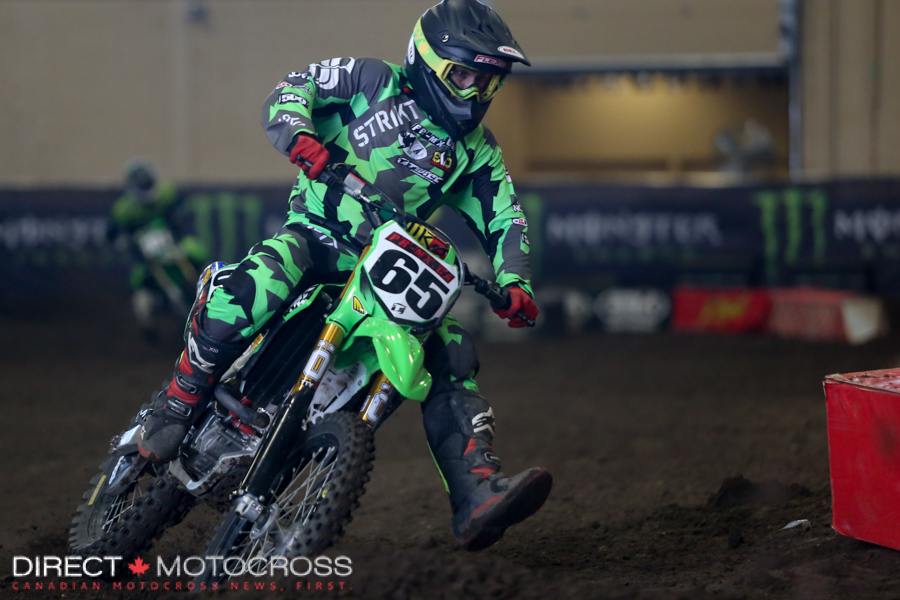 PR-MX Strikt Kawasaki rider #65 Scott Champoion had a rough Firiday night but came back to compete Saturday. His best was a 4th in the Pro Lites class main.