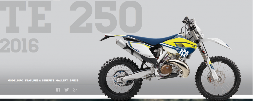 Jeff will be riding the 2015 version of this Husqvarna TE 250 (2016 model shown).