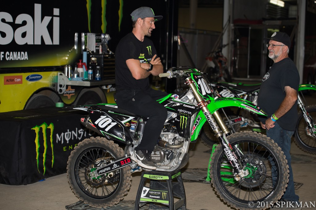 Brett Metcalfe was in town for the Parts Canada Showcase Sunday and hung out with the Monster Energy Thor Kawasaki team.