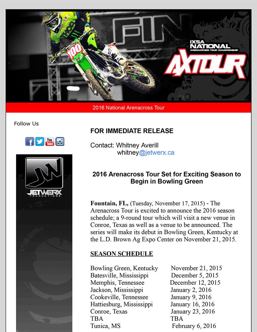 2016 Arenacross Tour Set for Exciting Season to Begin in Bowling