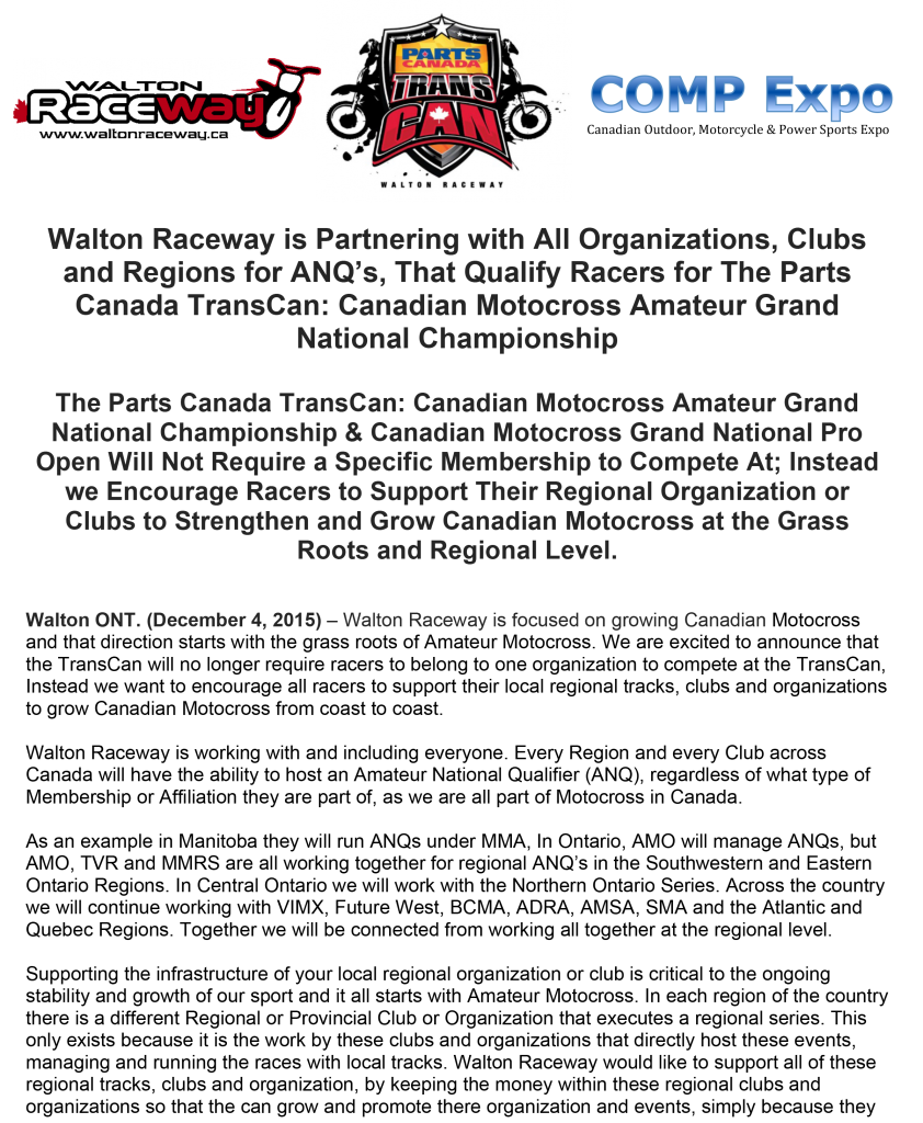 Walton Raceway to Partner with All Regions, Organizations and Clubs for ANQ's, Qualifying Racers for The Parts Canada TransCan- Canadian Motocross Amateur Grand National Championship-1