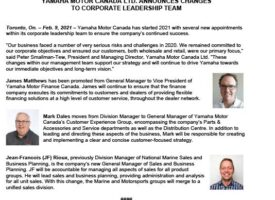 Yamaha Motor Canada Announces Corporate Leadership Team Changes