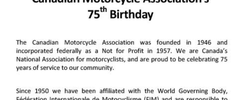 The CMA is 75 Years Old