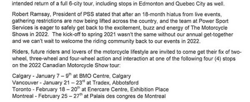2022 Revised Motorcycle & OHV Show Schedule